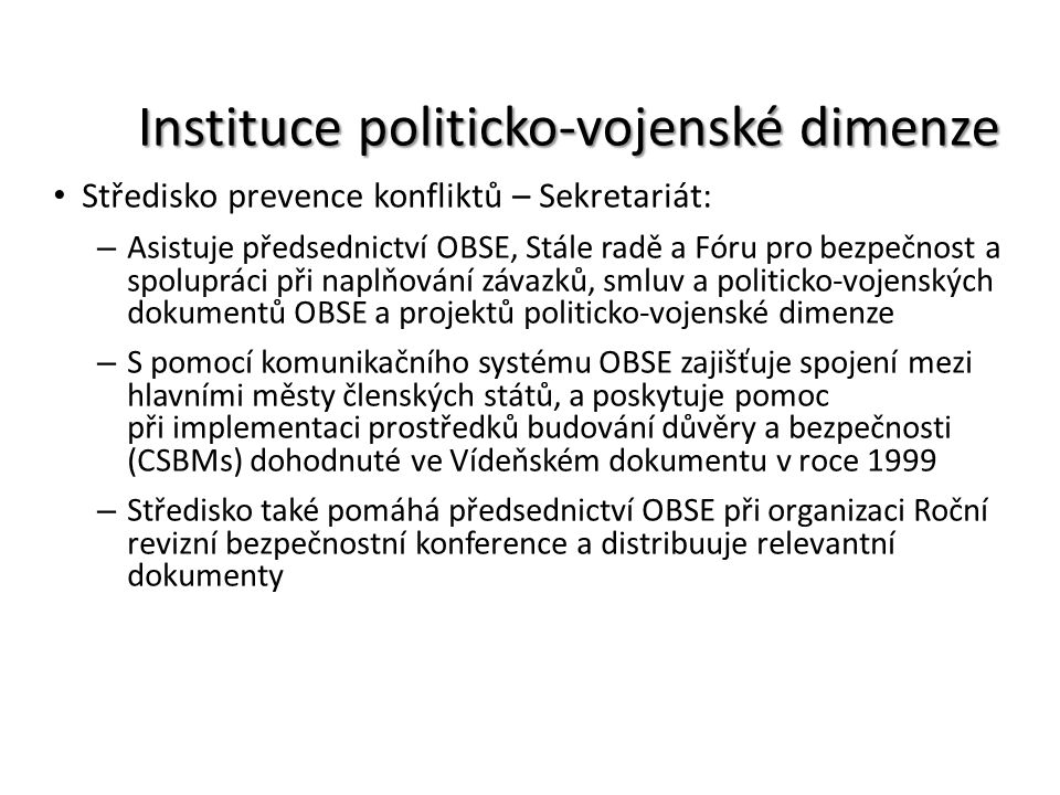 Instituce politicko-vojenské dimenze
