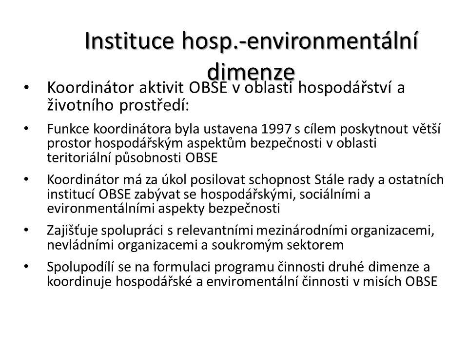 Instituce hosp.-environmentální dimenze