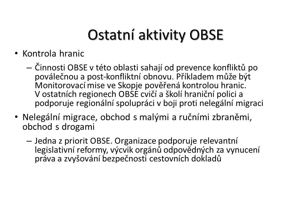Ostatní aktivity OBSE Kontrola hranic