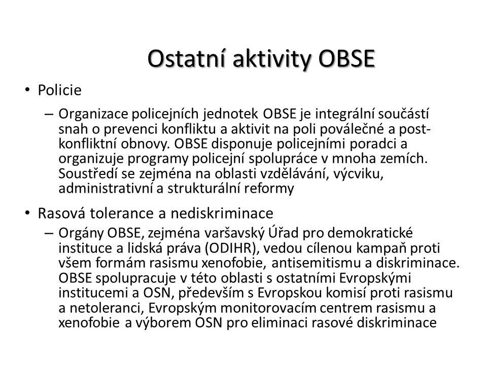 Ostatní aktivity OBSE Policie Rasová tolerance a nediskriminace