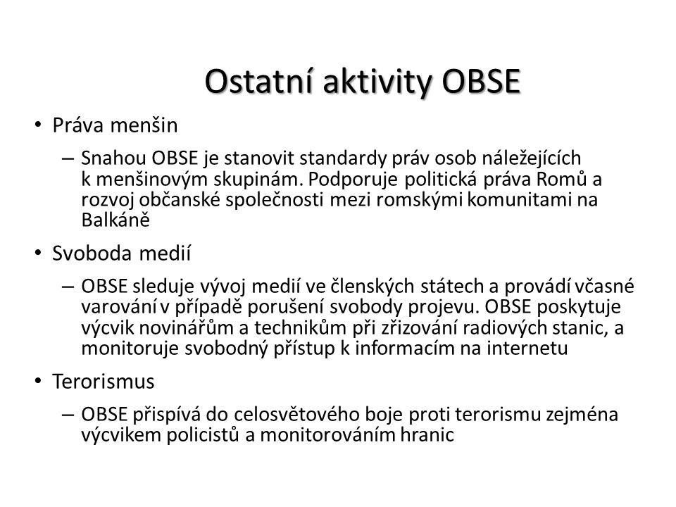Ostatní aktivity OBSE Práva menšin Svoboda medií Terorismus