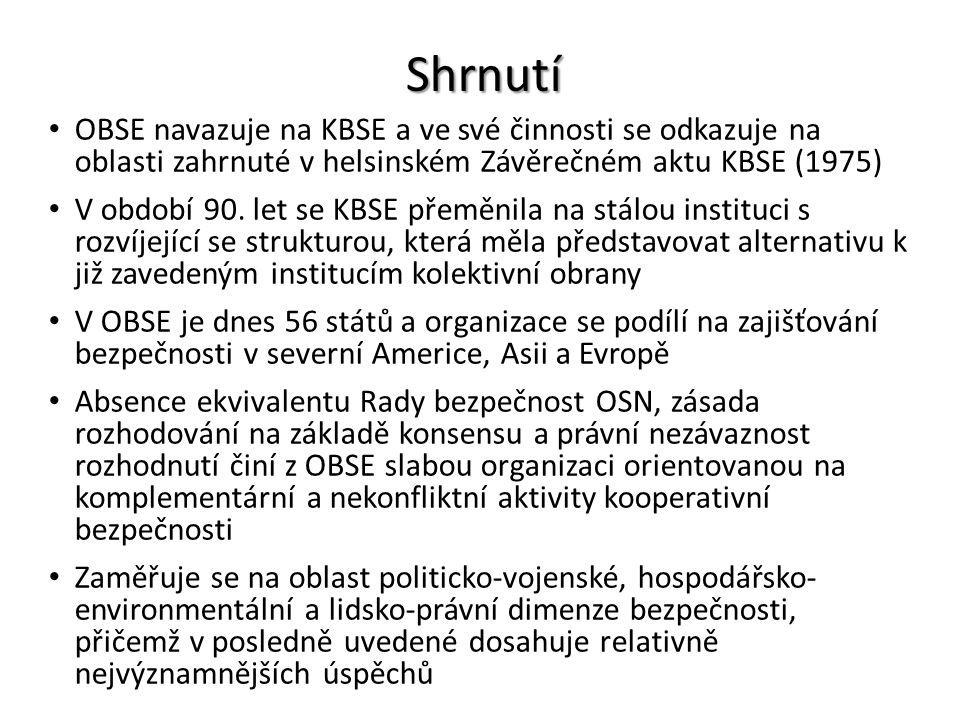 Shrnutí OBSE navazuje na KBSE a ve své činnosti se odkazuje na oblasti zahrnuté v helsinském Závěrečném aktu KBSE (1975)