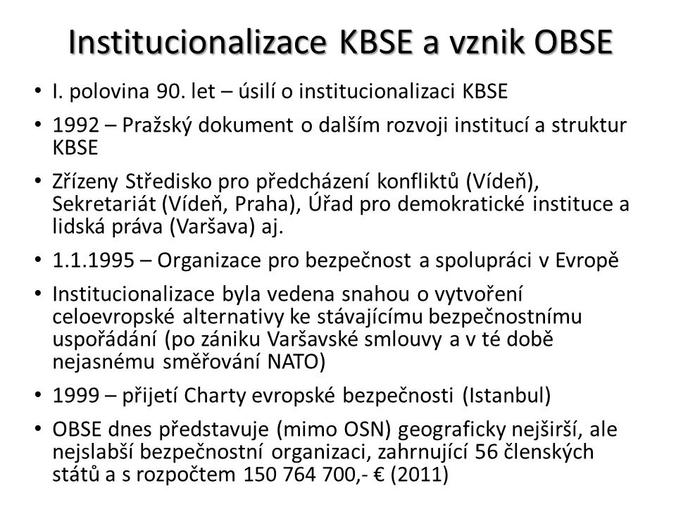 Institucionalizace KBSE a vznik OBSE