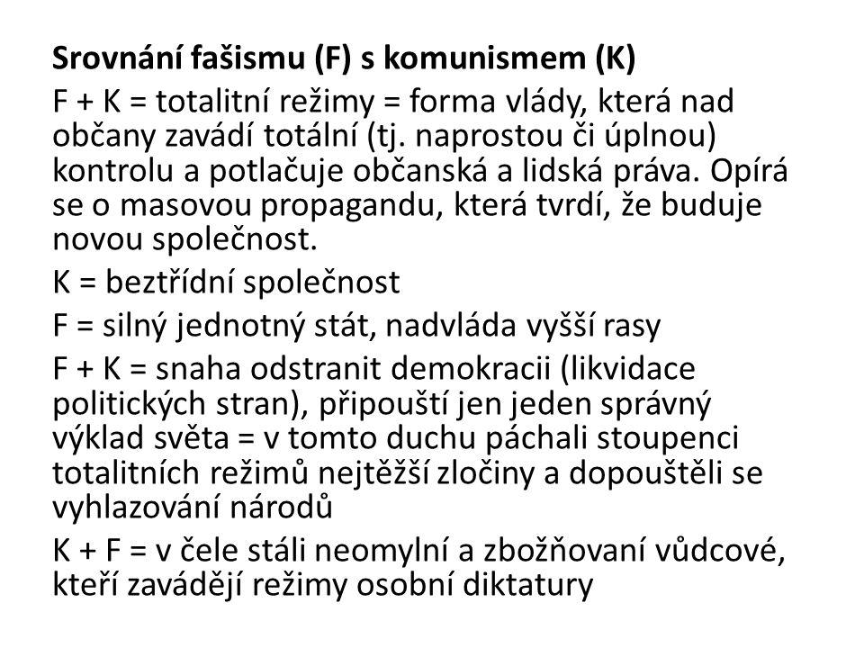 Srovnání fašismu (F) s komunismem (K) F + K = totalitní režimy = forma vlády, která nad občany zavádí totální (tj.