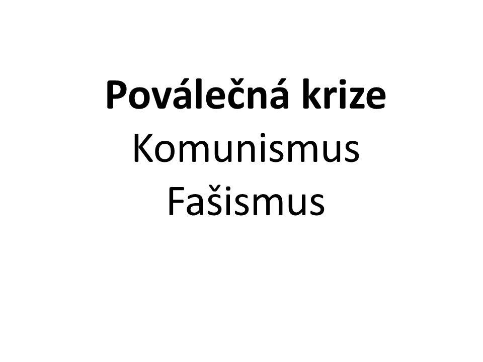 Poválečná krize Komunismus Fašismus