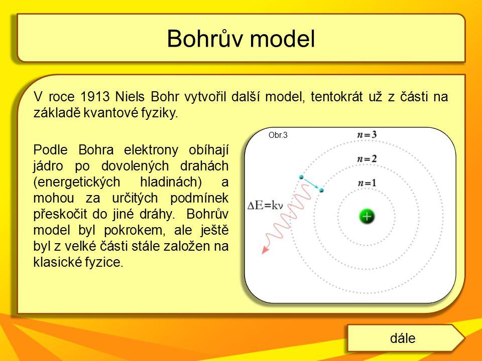 Bohrův model V roce 1913 Niels Bohr vytvořil další model, tentokrát už z části na základě kvantové fyziky.