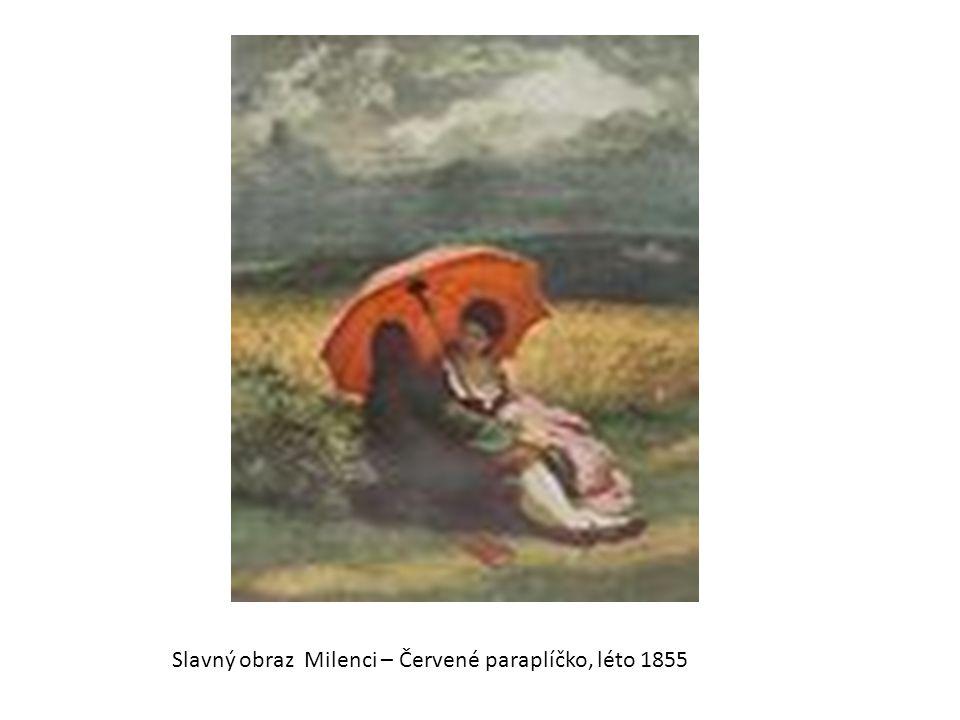 Slavný obraz Milenci – Červené paraplíčko, léto 1855