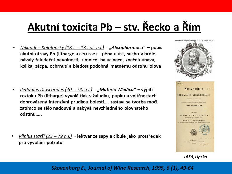 Akutní toxicita Pb – stv. Řecko a Řím