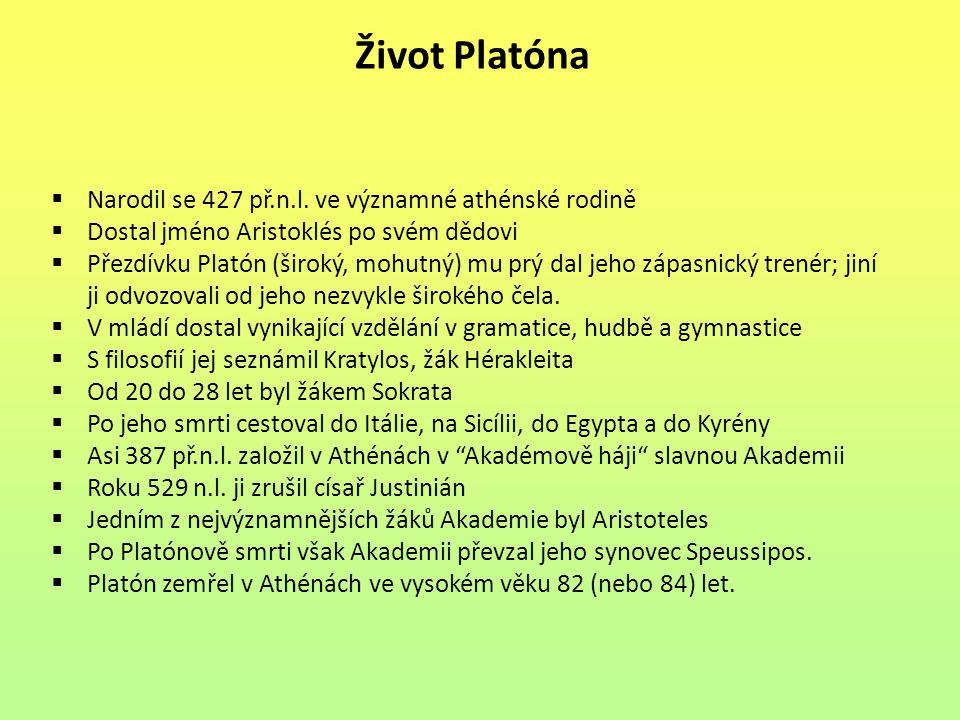 Život Platóna Narodil se 427 př.n.l. ve významné athénské rodině