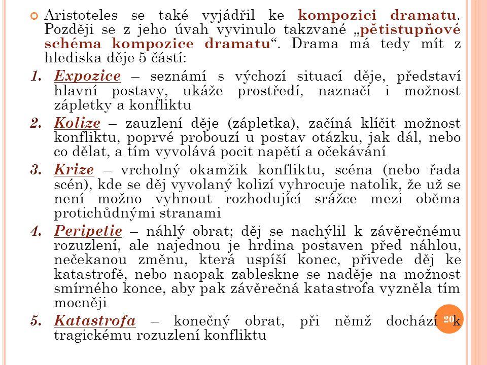 Aristoteles se také vyjádřil ke kompozici dramatu