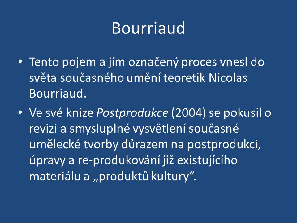 Bourriaud Tento pojem a jím označený proces vnesl do světa současného umění teoretik Nicolas Bourriaud.