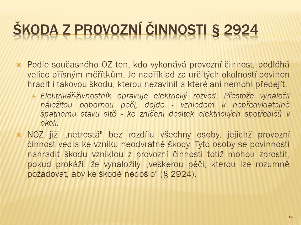 Škoda z provozní činnosti § 2924