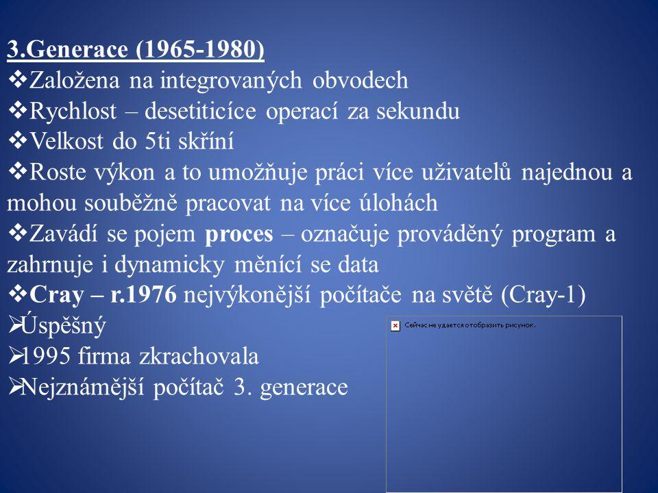 3.Generace (1965-1980) Založena na integrovaných obvodech. Rychlost – desetiticíce operací za sekundu.
