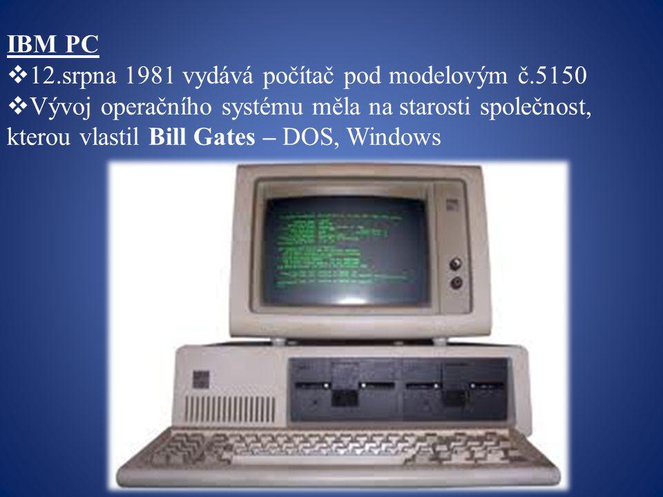 IBM PC 12.srpna 1981 vydává počítač pod modelovým č.5150.