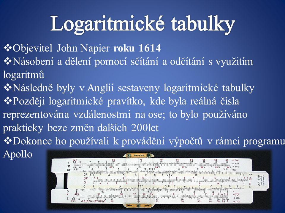 Logaritmické tabulky Objevitel John Napier roku 1614