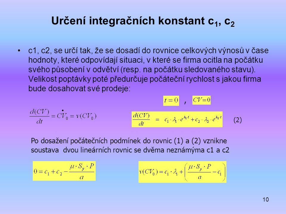 Určení integračních konstant c1, c2