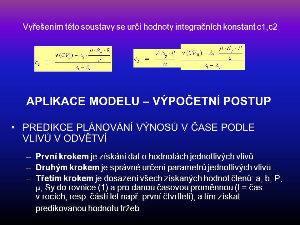 Vyřešením této soustavy se určí hodnoty integračních konstant c1,c2