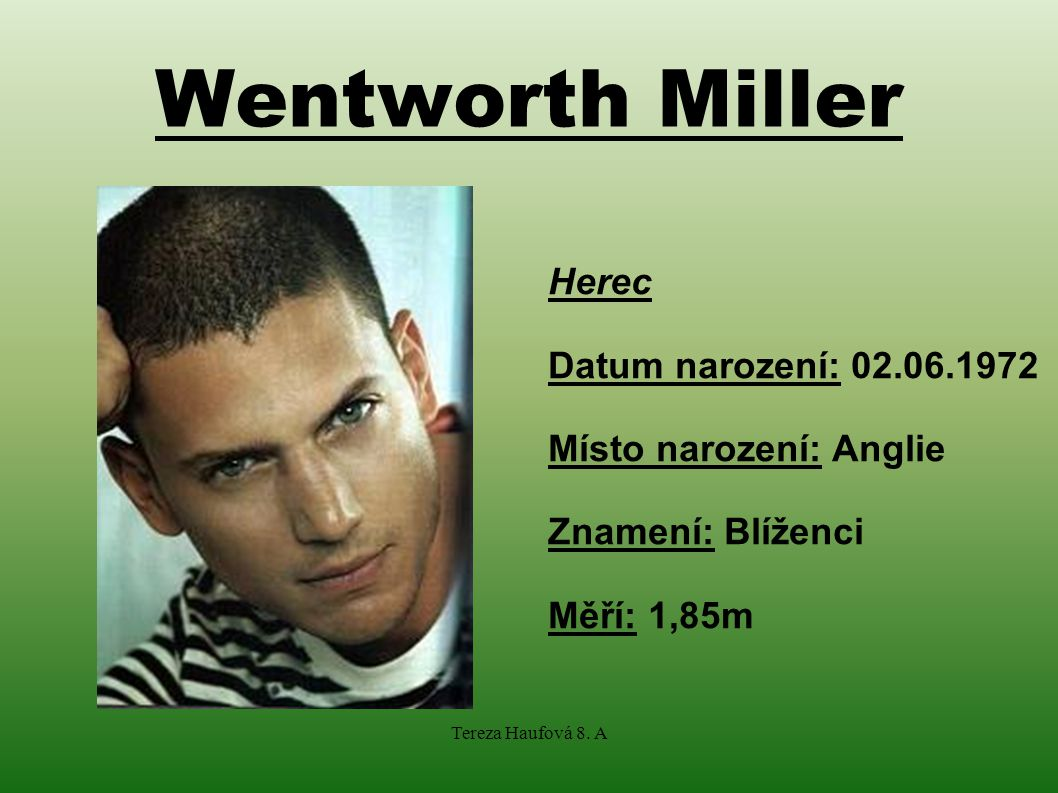 Wentworth Miller Herec Datum narození: 02.06.1972