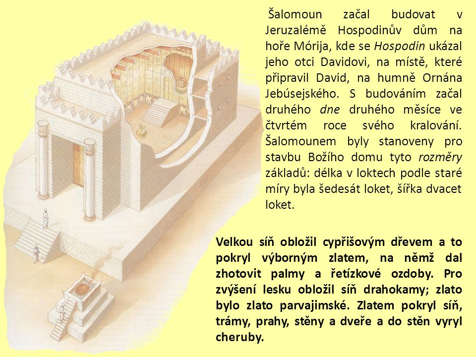 Šalomoun začal budovat v Jeruzalémě Hospodinův dům na hoře Mórija, kde se Hospodin ukázal jeho otci Davidovi, na místě, které připravil David, na humně Ornána Jebúsejského. S budováním začal druhého dne druhého měsíce ve čtvrtém roce svého kralování. Šalomounem byly stanoveny pro stavbu Božího domu tyto rozměry základů: délka v loktech podle staré míry byla šedesát loket, šířka dvacet loket.