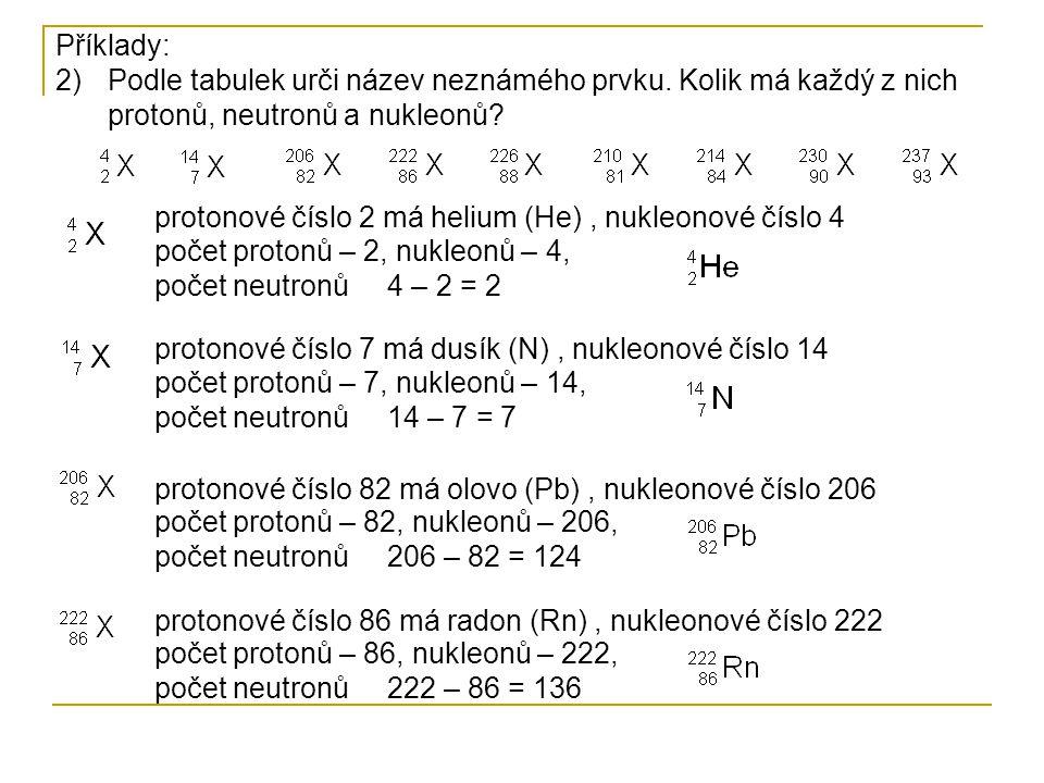Příklady: Podle tabulek urči název neznámého prvku. Kolik má každý z nich protonů, neutronů a nukleonů
