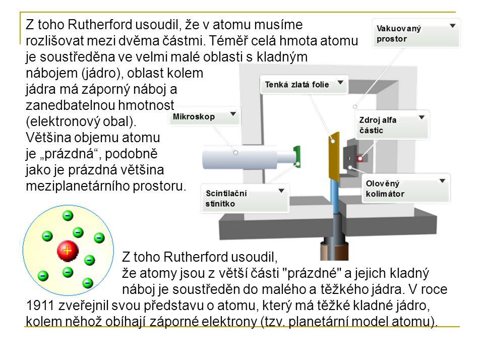 """Z toho Rutherford usoudil, že v atomu musíme rozlišovat mezi dvěma částmi. Téměř celá hmota atomu je soustředěna ve velmi malé oblasti s kladným nábojem (jádro), oblast kolem jádra má záporný náboj a zanedbatelnou hmotnost (elektronový obal). Většina objemu atomu je """"prázdná , podobně jako je prázdná většina meziplanetárního prostoru."""