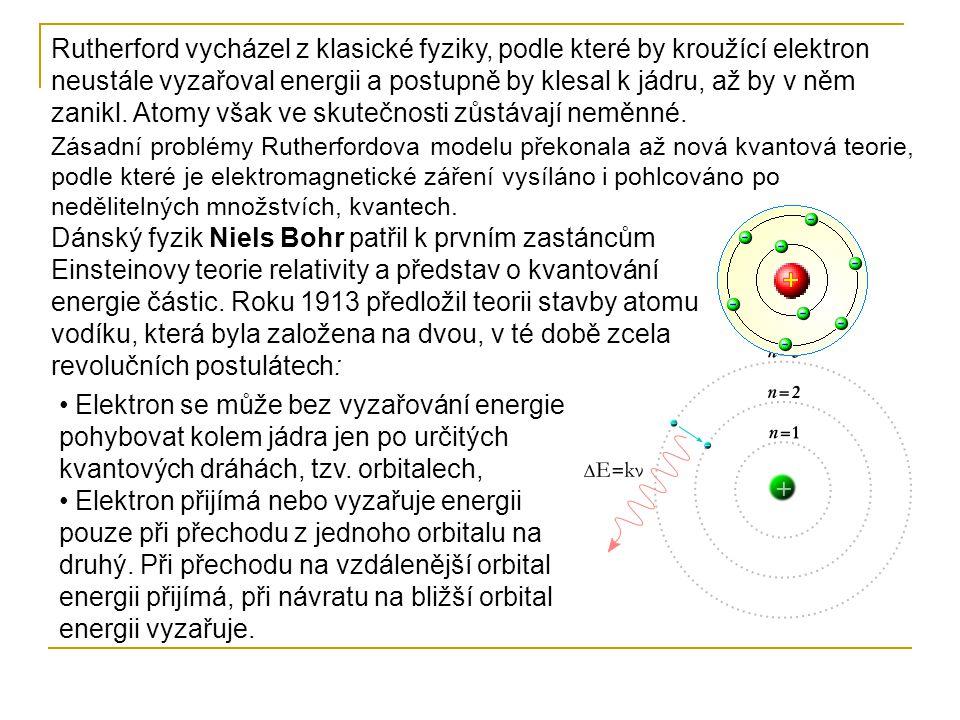 Rutherford vycházel z klasické fyziky, podle které by kroužící elektron neustále vyzařoval energii a postupně by klesal k jádru, až by v něm zanikl. Atomy však ve skutečnosti zůstávají neměnné.