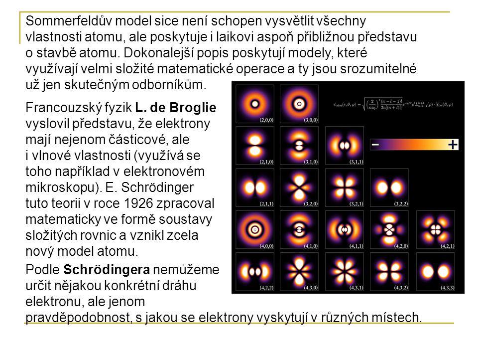 Sommerfeldův model sice není schopen vysvětlit všechny vlastnosti atomu, ale poskytuje i laikovi aspoň přibližnou představu o stavbě atomu. Dokonalejší popis poskytují modely, které využívají velmi složité matematické operace a ty jsou srozumitelné už jen skutečným odborníkům.