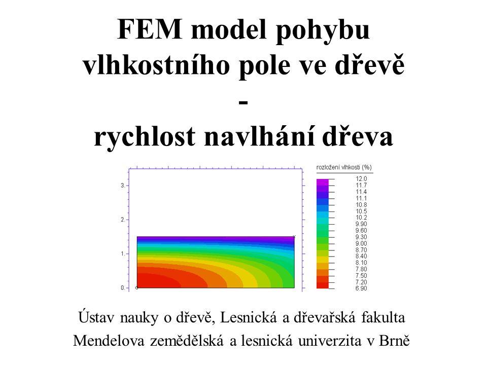 FEM model pohybu vlhkostního pole ve dřevě - rychlost navlhání dřeva
