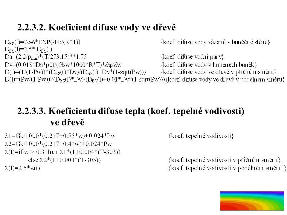 2.2.3.2. Koeficient difuse vody ve dřevě