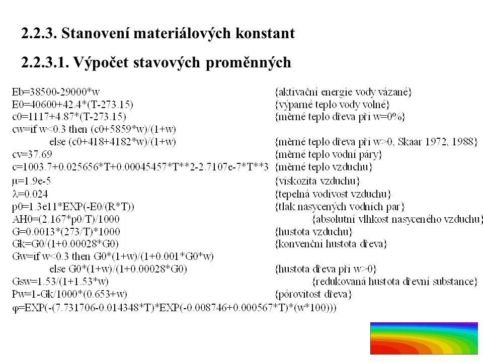 2.2.3. Stanovení materiálových konstant