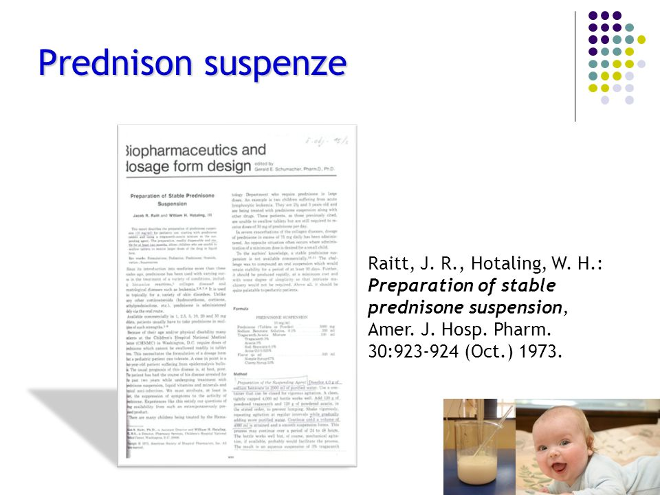 Prednison suspenze Raitt, J. R., Hotaling, W. H.: Preparation of stable prednisone suspension, Amer. J. Hosp. Pharm.