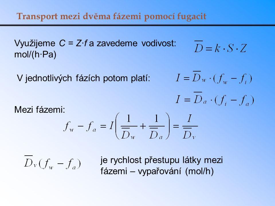 Transport mezi dvěma fázemi pomocí fugacit