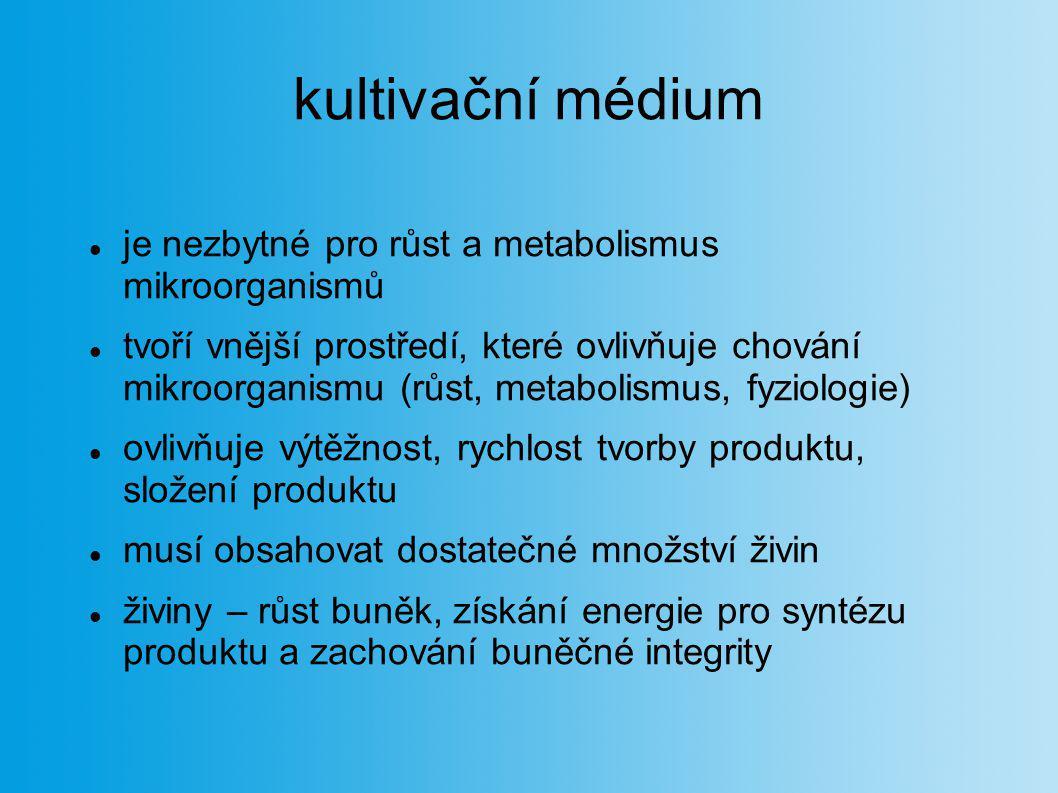 kultivační médium je nezbytné pro růst a metabolismus mikroorganismů