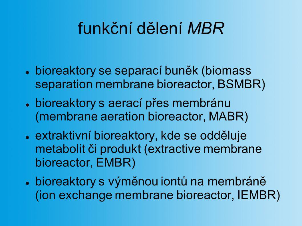 funkční dělení MBR bioreaktory se separací buněk (biomass separation membrane bioreactor, BSMBR)