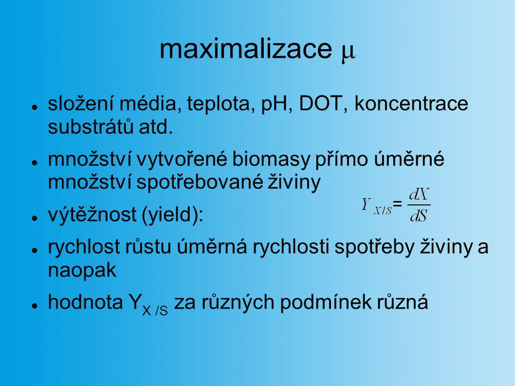 maximalizace μ složení média, teplota, pH, DOT, koncentrace substrátů atd. množství vytvořené biomasy přímo úměrné množství spotřebované živiny.