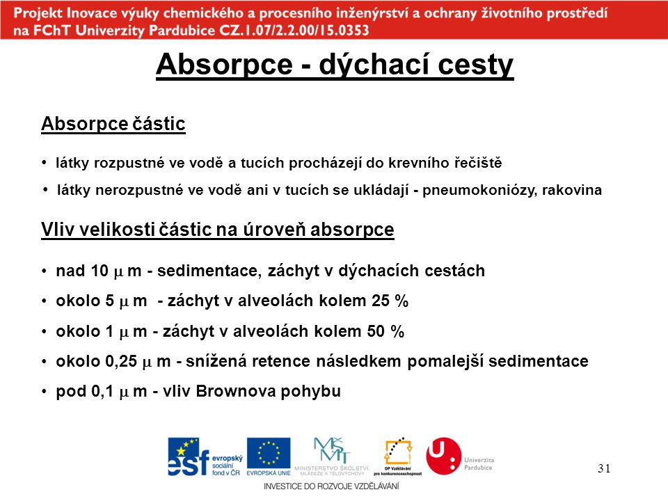 Absorpce - dýchací cesty