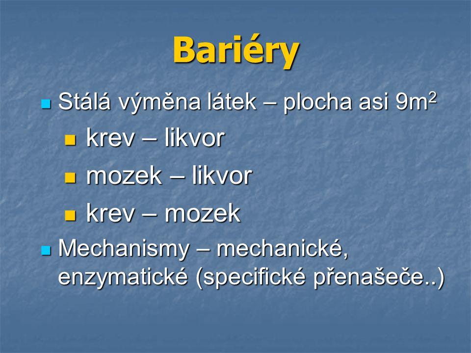 Bariéry krev – likvor mozek – likvor krev – mozek