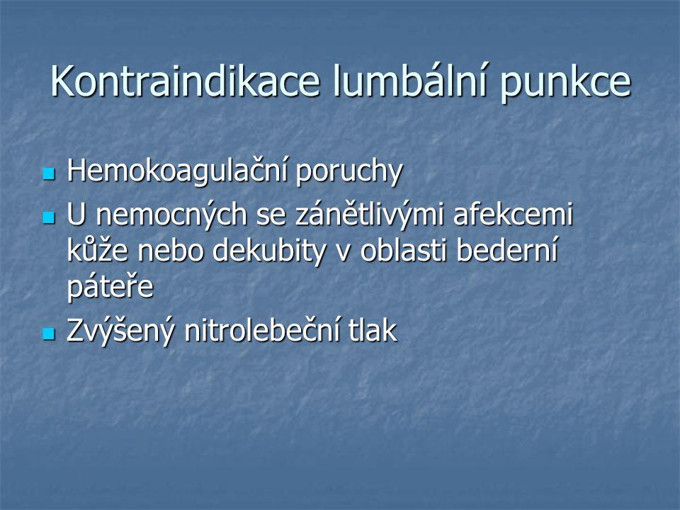 Kontraindikace lumbální punkce