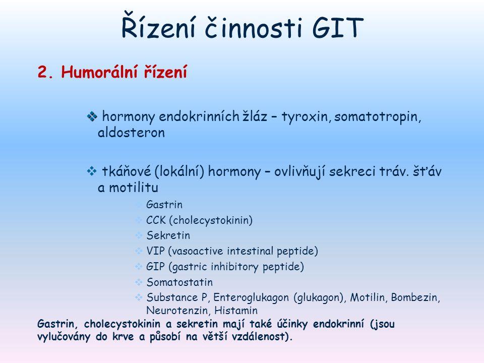 Řízení činnosti GIT 2. Humorální řízení