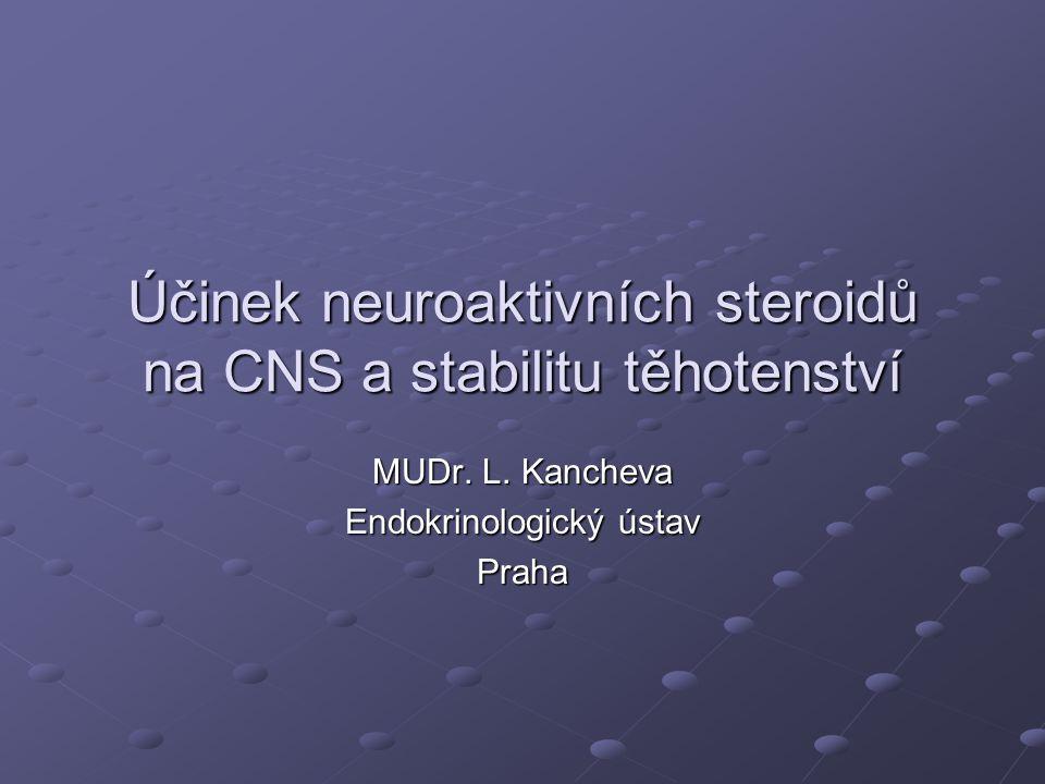 Účinek neuroaktivních steroidů na CNS a stabilitu těhotenství