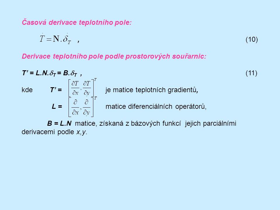 Časová derivace teplotního pole: