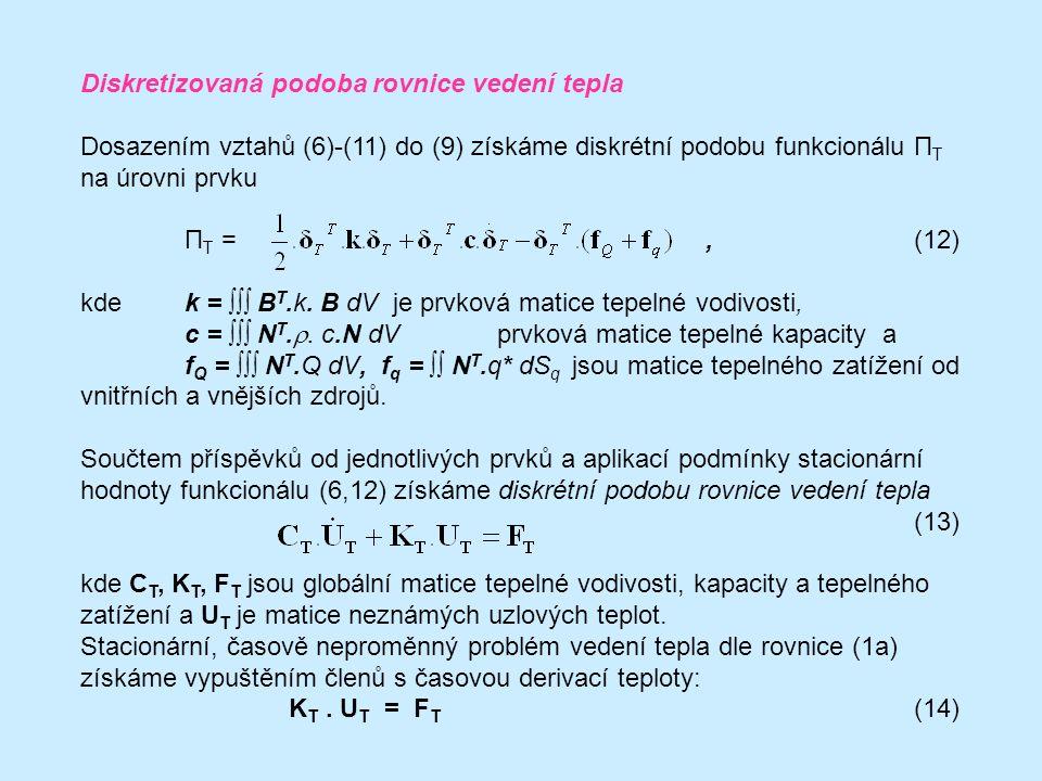 Diskretizovaná podoba rovnice vedení tepla