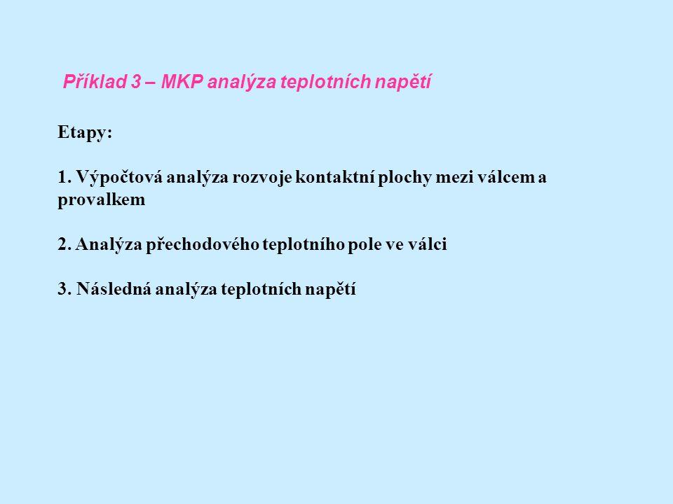 Etapy: 1. Výpočtová analýza rozvoje kontaktní plochy mezi válcem a provalkem. 2. Analýza přechodového teplotního pole ve válci.