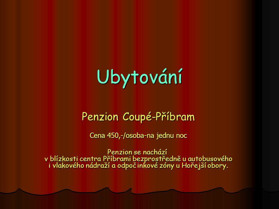 Ubytování Penzion Coupé-Příbram Cena 450,-/osoba-na jednu noc