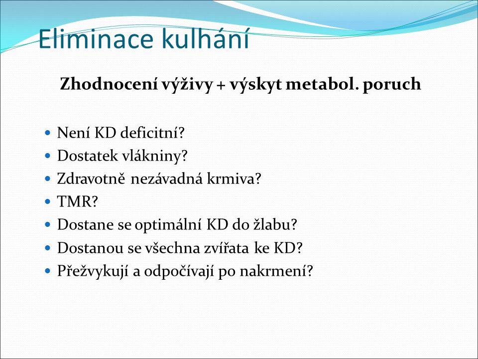 Zhodnocení výživy + výskyt metabol. poruch
