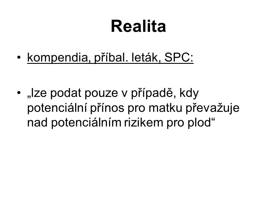 Realita kompendia, příbal. leták, SPC: