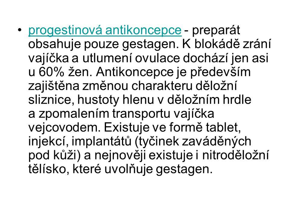 progestinová antikoncepce - preparát obsahuje pouze gestagen