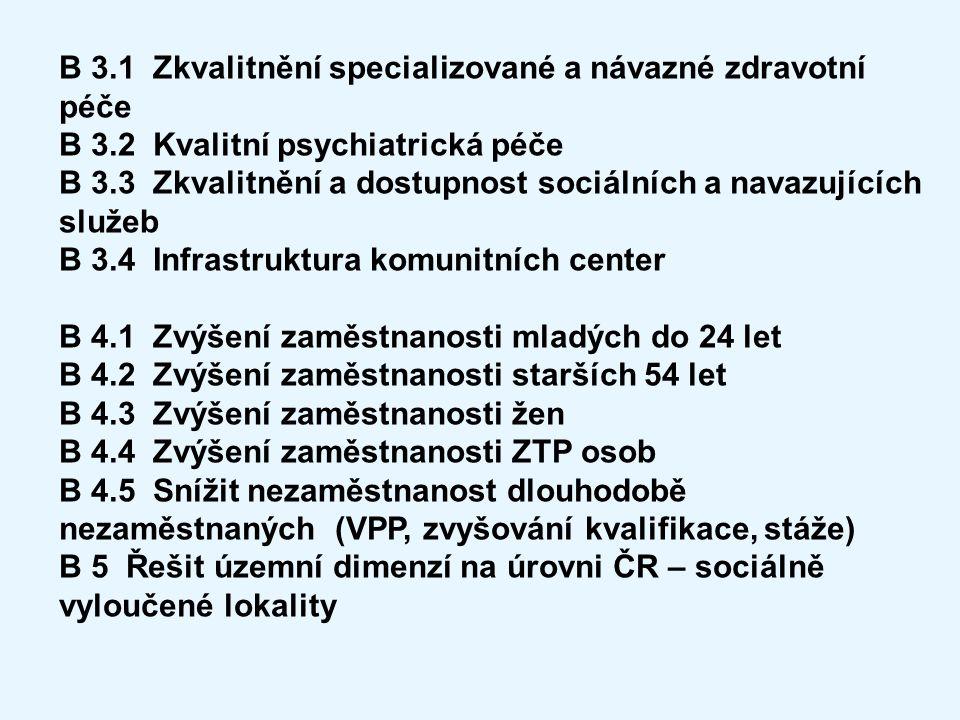 B 3.1 Zkvalitnění specializované a návazné zdravotní péče