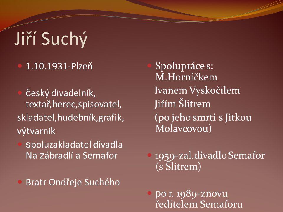 Jiří Suchý 1.10.1931-Plzeň český divadelník, textař,herec,spisovatel,