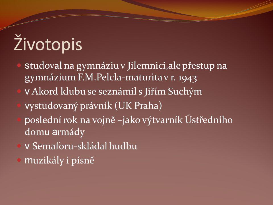 Životopis studoval na gymnáziu v Jilemnici,ale přestup na gymnázium F.M.Pelcla-maturita v r. 1943. v Akord klubu se seznámil s Jiřím Suchým.